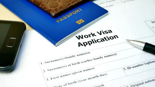 work visa application with passport