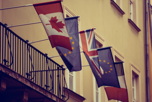 canadian, french, british and european flags