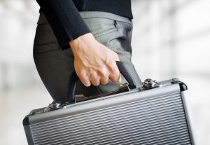 woman making secure delivery with briefcase